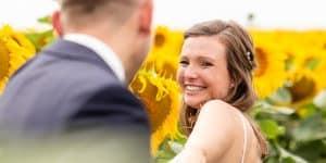 Hochzeitsfotografie Sonnenblumen Brautpaar | Fotograf bilderschlag Erfurt